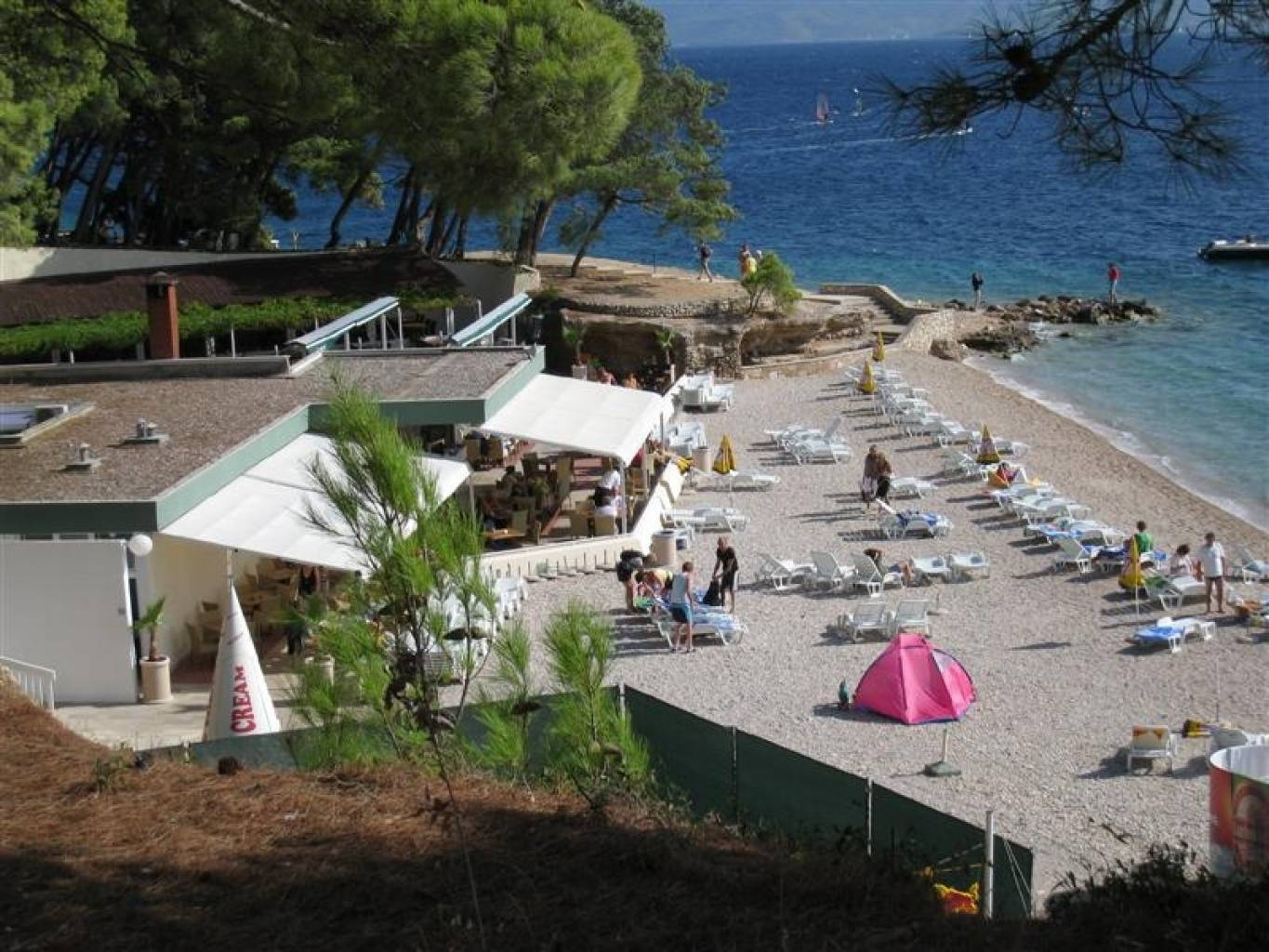 One of the beach cafe/bars on a smaller beach en route to Zlatni Rat